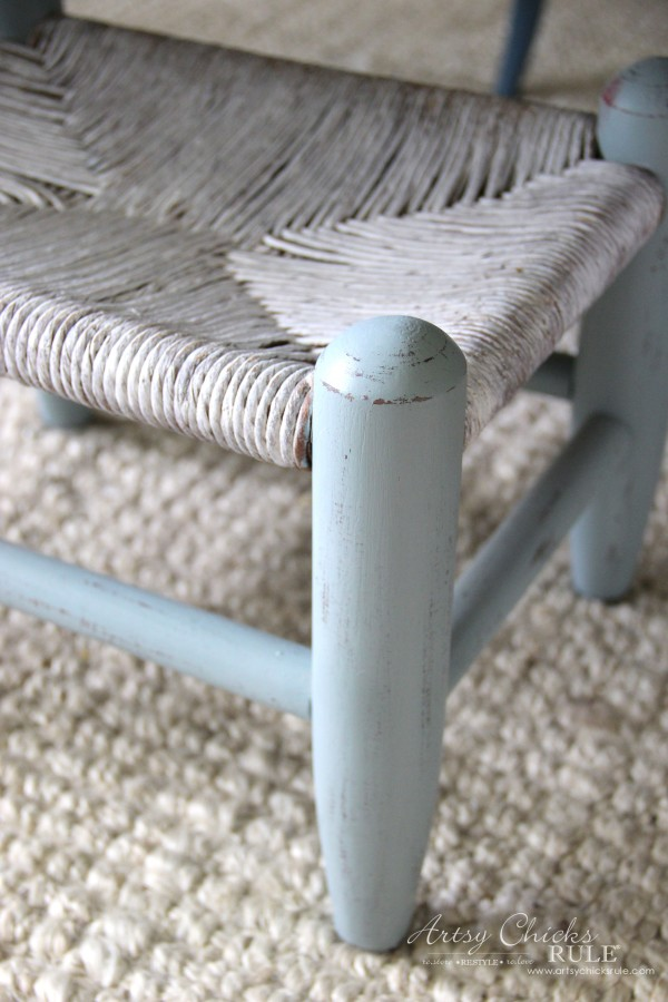 Beachy Footstool Makeover - up close - artsychicksrule #coastaldecor