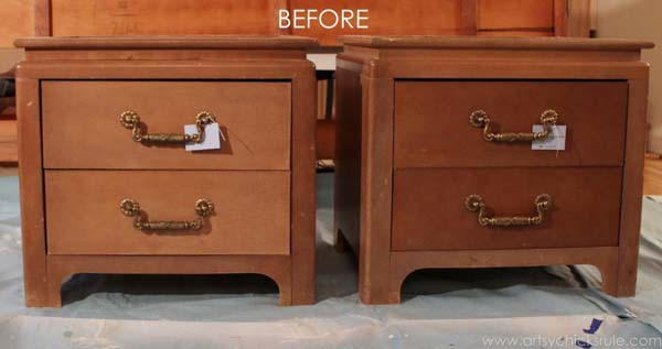 Coastal Turquoise Night Stands Makeover - BEFORE and they don't even match - artsychicksrule