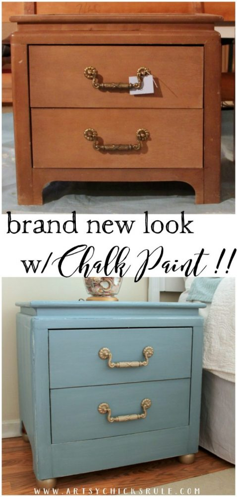A couple of simple modifications and some Chalk Paint COMPLETELY transformed these!!! So easy!! Turquoise Night Stands artsychicksrule.com
