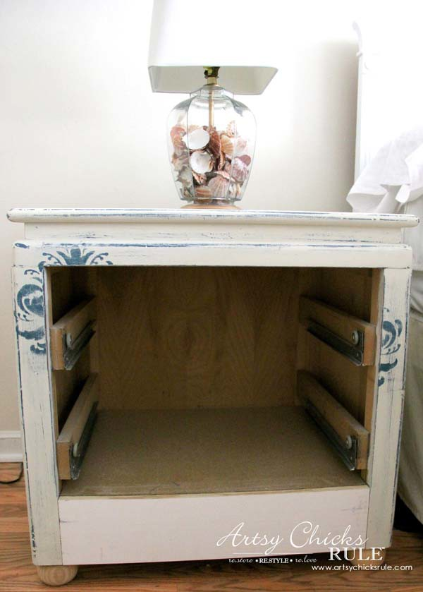 Coastal Turquoise Night Stands Makeover with Chalk Paint - SIMPLE MODIFICATION - artsychicksrule