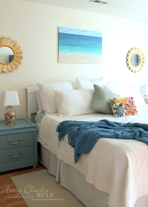 Coastal Turquoise Night Stands Makeover with Chalk Paint - THRIFTY DECOR - artsychicksrule.com