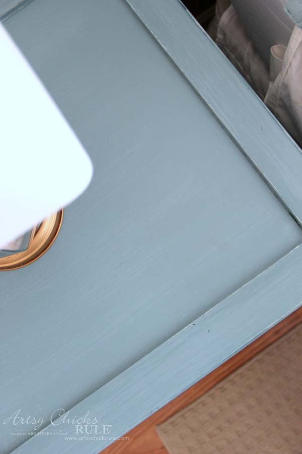 Coastal Turquoise Night Stands Makeover with Chalk Paint - TOP MINUS GLASS - artsychicksrule