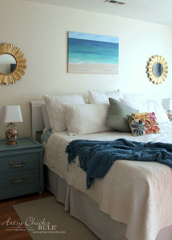 DIY Beach Painting - coastal bedroom and mostly DIY - artsychicksrule.com #diypainting #diyabstractpainting #diybeachpainting