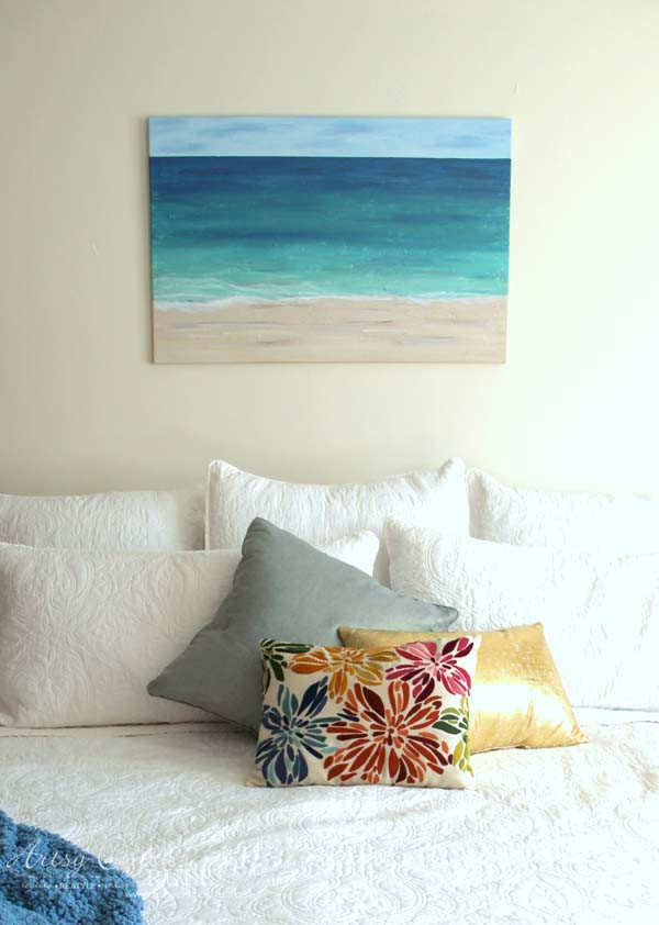 DIY Beach Painting - straight on view - artsychicksrule.com #diypainting #diyabstractpainting #diybeachpainting