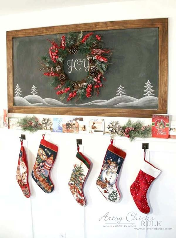 DIY Farmhouse Inspired Chalkboard - Christmas - artsychicksrule