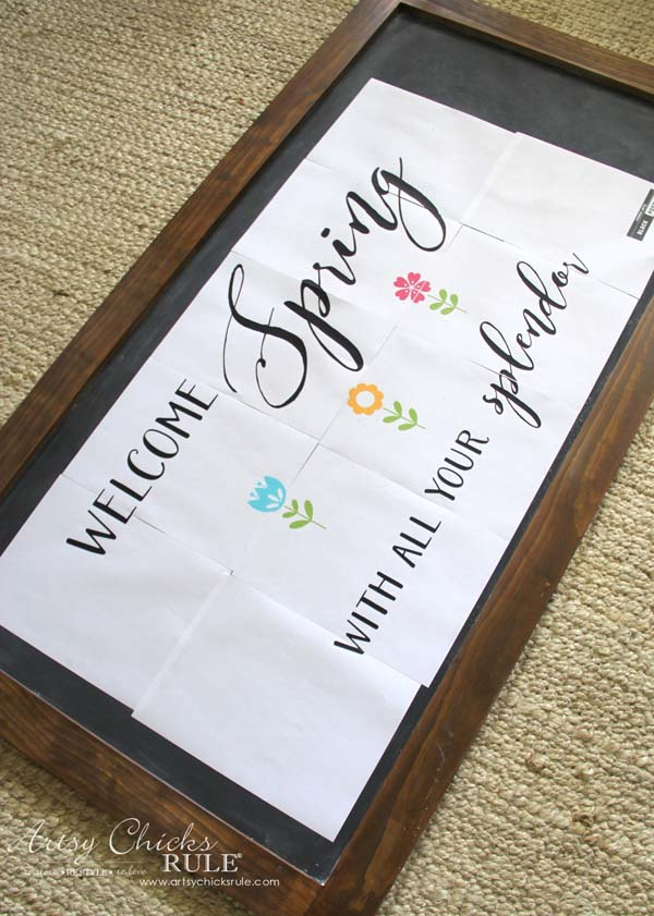 DIY Farmhouse Inspired Chalkboard - Transferring Spring Chalk Art - artsychicksrule
