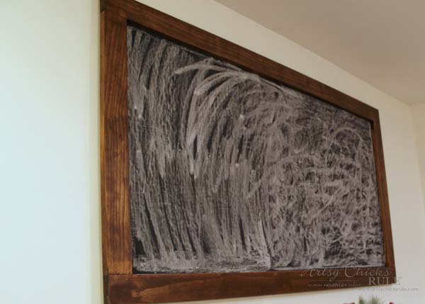 DIY Farmhouse Inspired Chalkboard - prepping with chalk - artsychicksrule