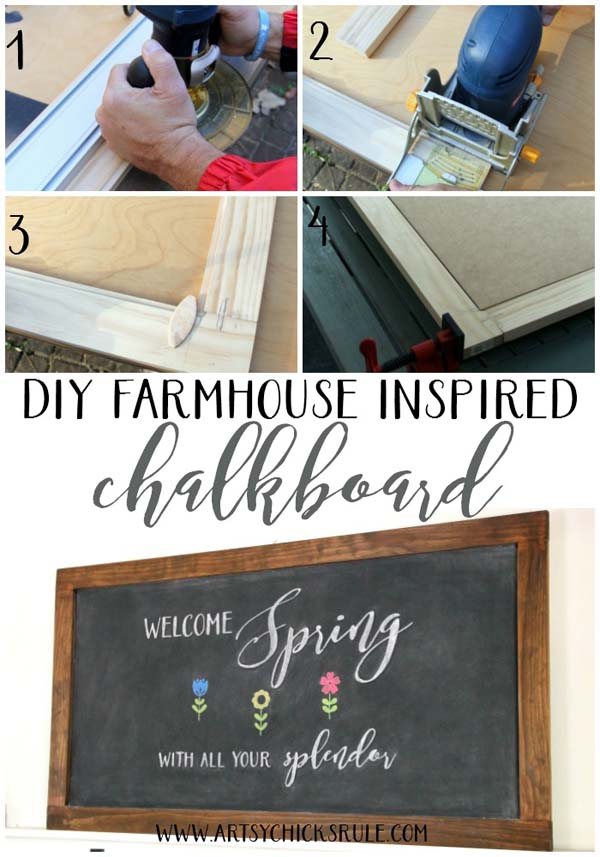 DIY Farmhouse Inspired Chalkboard!! Need to do this!!! #chalkboardart #diychalkboard #freeprintable #springart