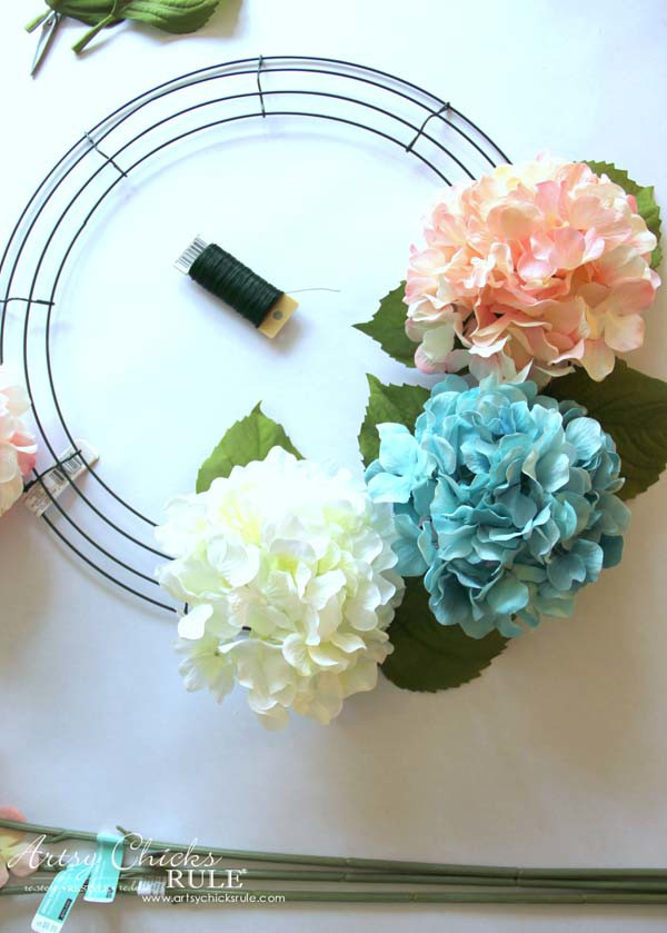 DIY Hydrangea Wreath - Adding Hydrangea - artsychicksruleDIY Hydrangea Wreath - Colorful Spring Wreath - artsychicksrule.com #hydrangeawreath #springwreath