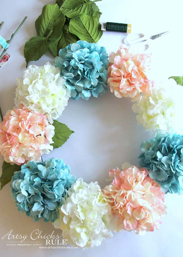 DIY Hydrangea Wreath - Adding Leaves -DIY Hydrangea Wreath - Colorful Spring Wreath - artsychicksrule.com #hydrangeawreath #springwreath