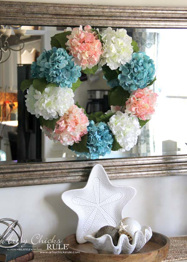 DIY Hydrangea Wreath - Easy Spring Wreath - DIY Hydrangea Wreath - Colorful Spring Wreath - artsychicksrule.com #hydrangeawreath #springwreath