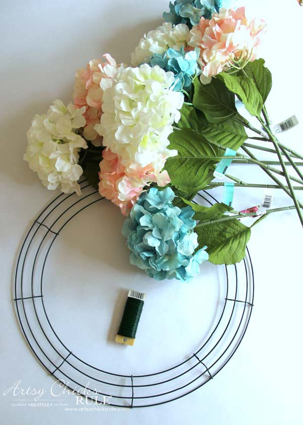 DIY Hydrangea Wreath - Materials Needed - artsychicksruleDIY Hydrangea Wreath - Colorful Spring Wreath - artsychicksrule.com #hydrangeawreath #springwreath