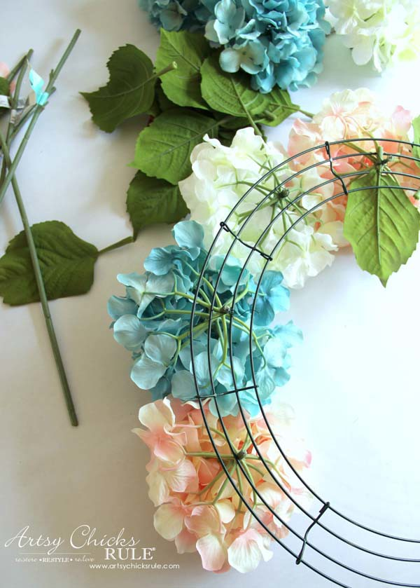 DIY Hydrangea Wreath - Using wire to add hydrangea - DIY Hydrangea Wreath - Colorful Spring Wreath - artsychicksrule.com #hydrangeawreath #springwreath