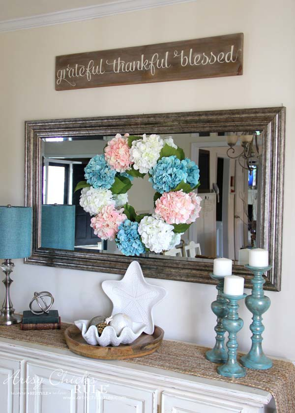 DIY Hydrangea Wreath - on dining room mirror - DIY Hydrangea Wreath - Colorful Spring Wreath - artsychicksrule.com #hydrangeawreath #springwreath