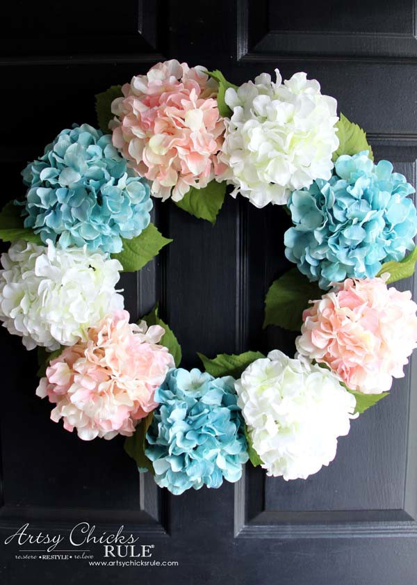 DIY Hydrangea Wreath - on front door - DIY Hydrangea Wreath - Colorful Spring Wreath - artsychicksrule.com #hydrangeawreath #springwreath