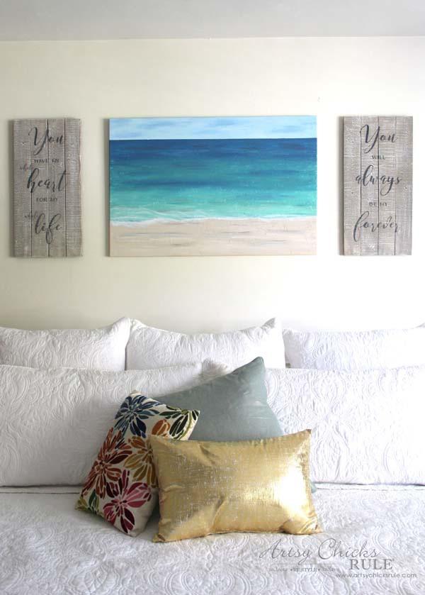 DIY Weathered Love Signs - COASTAL DECOR - artsychicksrule.com #drybrush #chalkpaint #lovesign