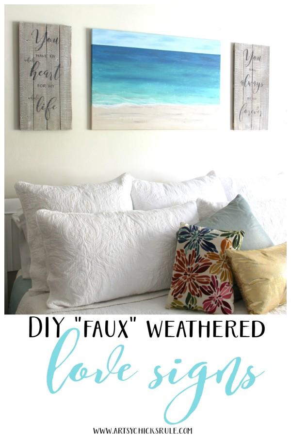 EASY FAUX WEATHERED love sign! - artsychicksrule.com #drybrush #chalkpaint #lovesign