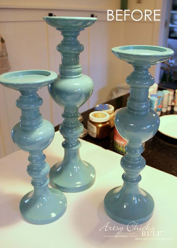 Painted Candlesticks - BEFORE - artsychicksrule