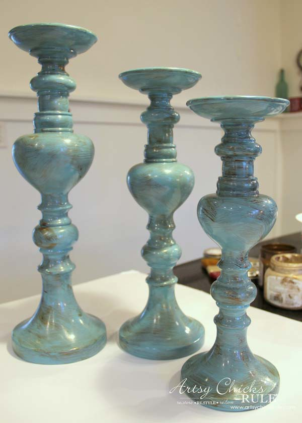 Painted Candlesticks - First layer is Bronze paint - artsychicksrule