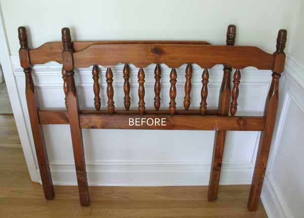 DIY Headboard Bench - BEFORE - artsychicksrule.com #headboardbench