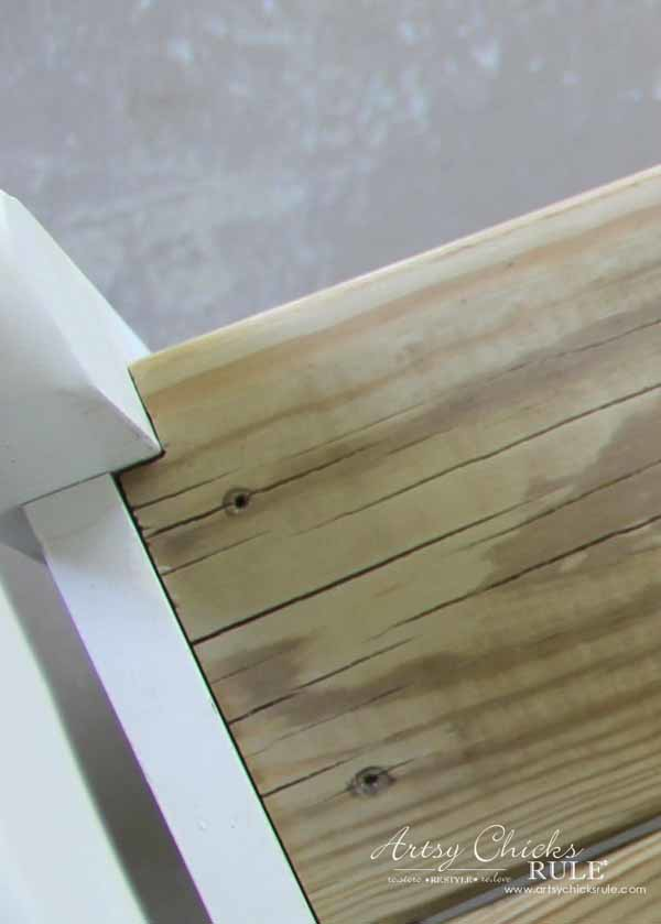 DIY Headboard Bench - HAND SAWED NOTCHES - artsychicksrule.com #headboardbench