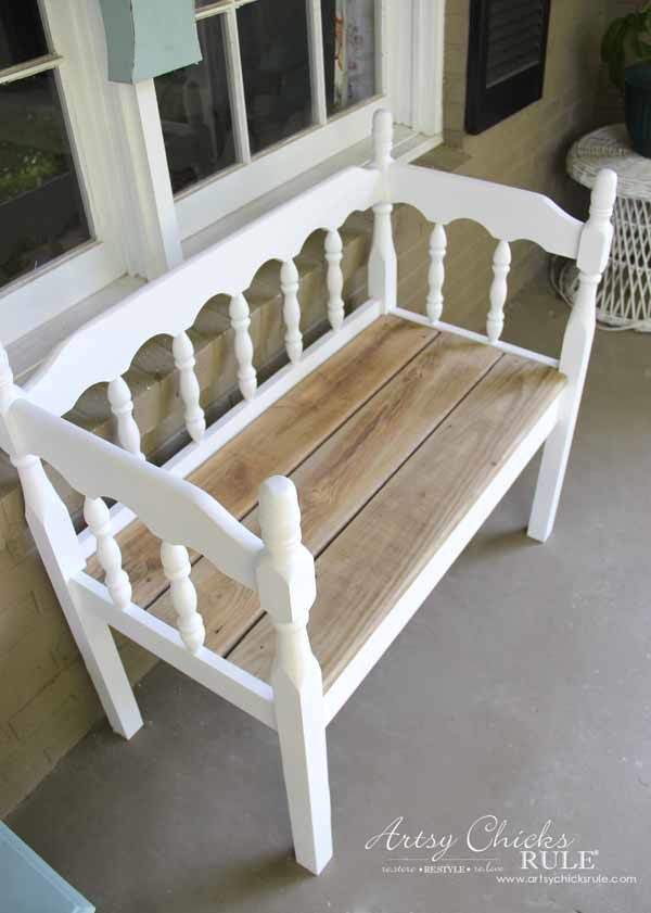 DIY Headboard Bench - REUSING OLD WOOD FOR SEAT - artsychicksrule.com #headboardbench