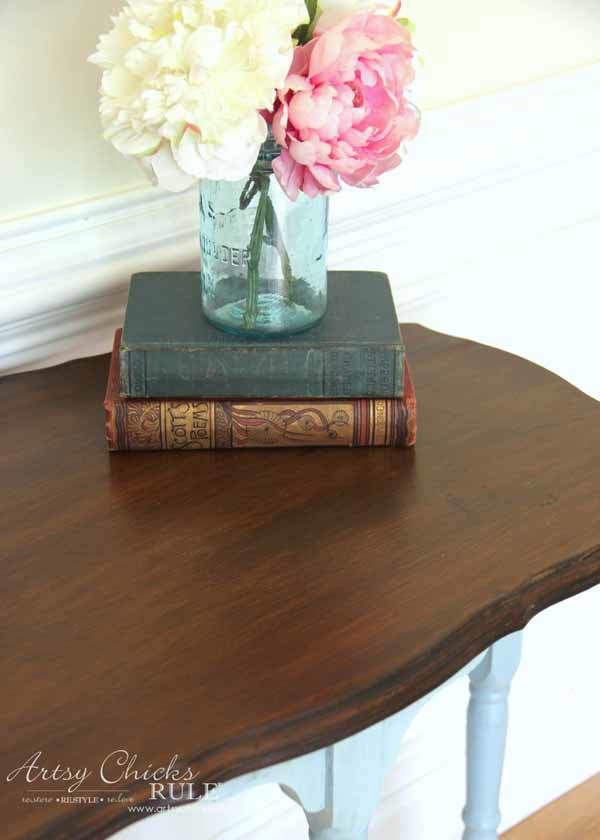 Side Table Makeover - Amy Howard Paint & Dust of Ages - GENERAL FINISHES ANTIQUE WALNUT -artsychicksrule #dustofages #amyhowardpaint