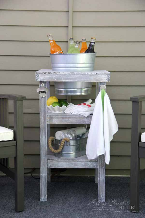 DIY Beverage Station Tutorial - Easy Build - artsychicksrule.com #beveragestand