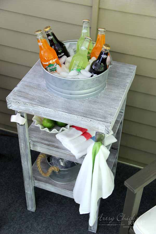 DIY Beverage Station Tutorial - Home Depot DIH Workshop - artsychicksrule.com #beveragestand