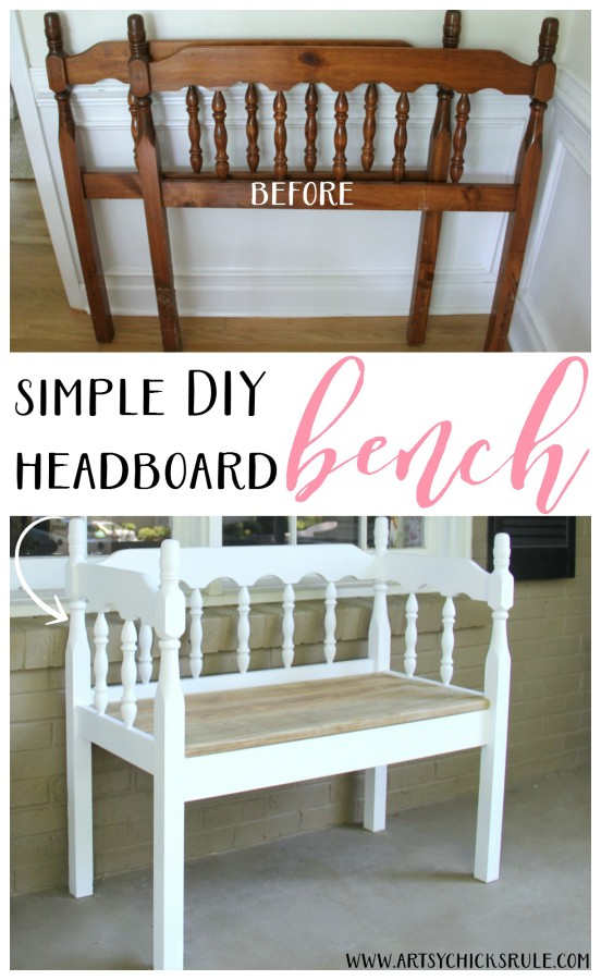 DIY Headboard Bench - EASY DIY PROJECT - artsychicksrule.com #headboardbench