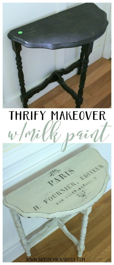 Thrifty Makeover with MMS Milk Paint - EASY 6 DOLLAR TABLE MAKEOVER - artsychicksrule #milkpaint #mmsmilkpaint