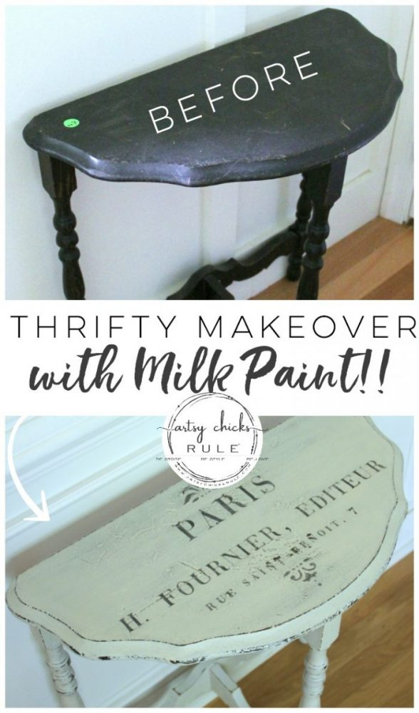 MMS MILK PAINT (and French Graphics)Transformed This Old Antique Table! artsychicksrule.com #mmsmilkpaint #milkpaint# milkpaintedfurniture #frenchstyle #frenchdecor #frenchfurniture #paintedfurniture #furnituremakeover