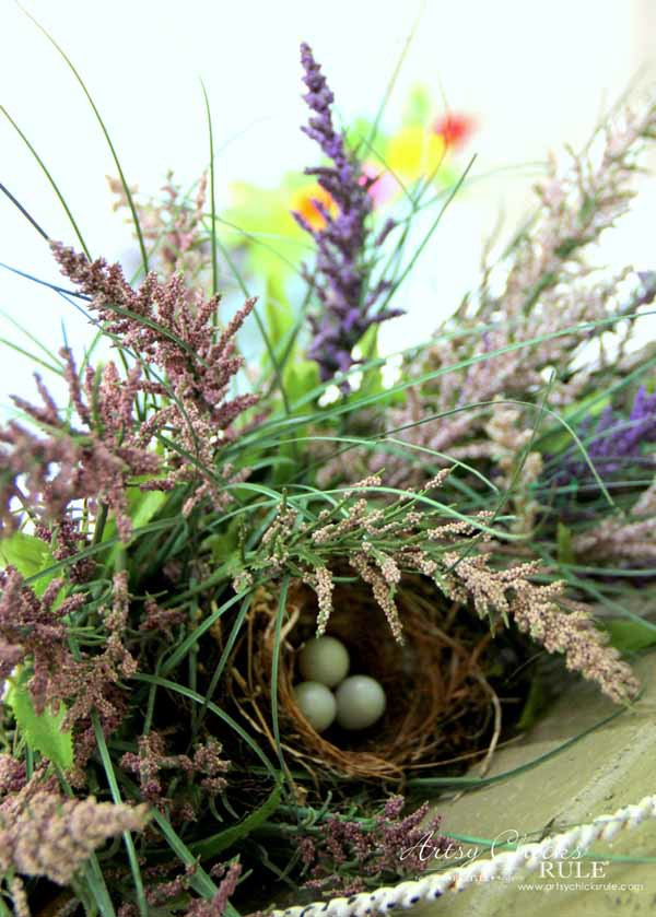 Thrifty Porch Decor - Became a nest for birdies - artsychicksrule.com #frontporchdecor