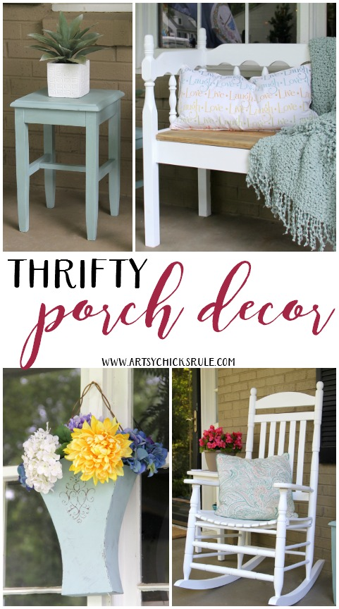 Thrifty Porch Decor - Decorate on a Budget - artsychicksrule.com #thriftyporchdecor