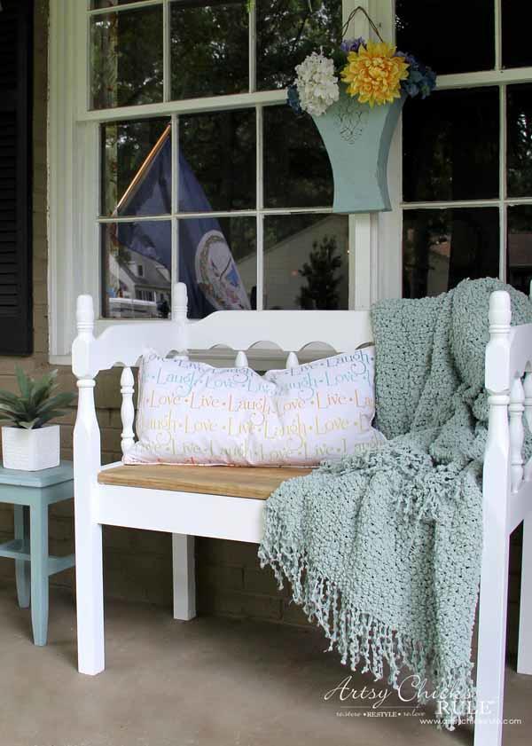 Thrifty Porch Decor - Easy DIY Headboard Bench - artsychicksrule.com #frontporchdecor