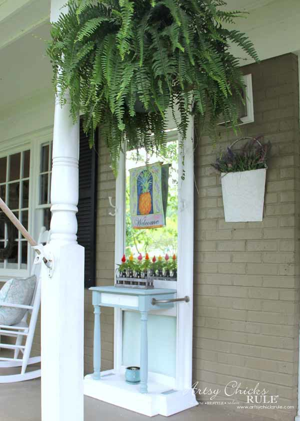 Thrifty Porch Decor - Hall Tree and Ferns - artsychicksrule.com #frontporchdecor