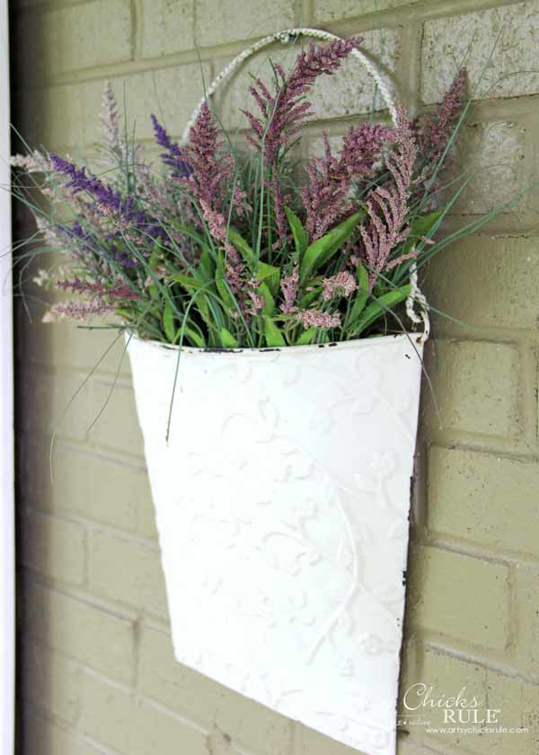 Thrifty Porch Decor - Hanging Planter - artsychicksrule.com #frontporchdecor
