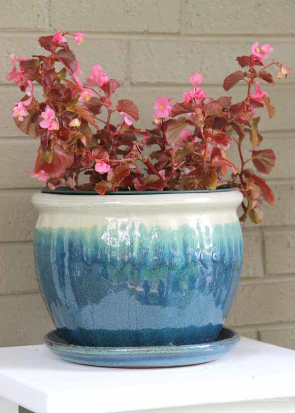 Thrifty Porch Decor - Pretty Turquoise Planter - artsychicksrule.com #frontporchdecor