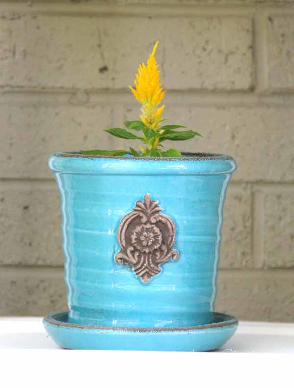 Thrifty Porch Decor - Turquois planter - artsychicksrule.com #frontporchdecor