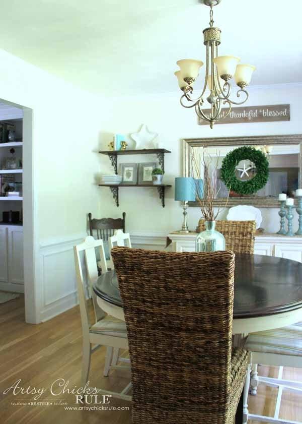 DIY Dining Room Wall Shelves - DINING ROOM - artsychicksrule.com #wallshelves