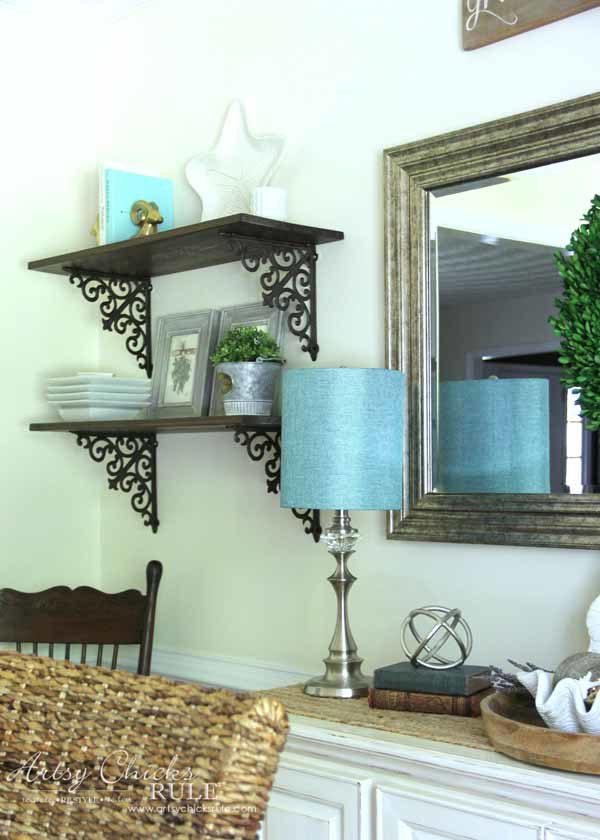 Dining Room DIY Wall Shelves - SCROLL BRACKETS - artsychicksrule.com #wallshelves