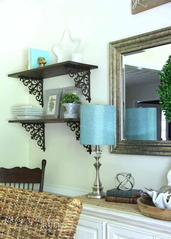 diy dining room wall shelves scroll brackets wallshelves artsy chicks. Black Bedroom Furniture Sets. Home Design Ideas