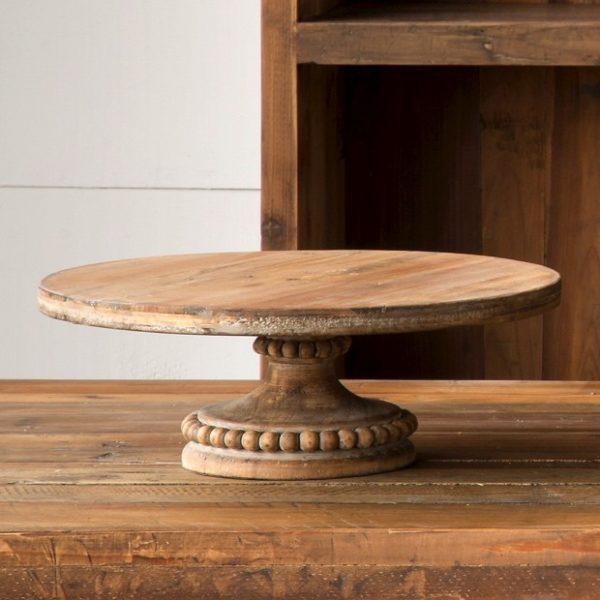 round-wood-pedestal-display - Antique Farmhouse