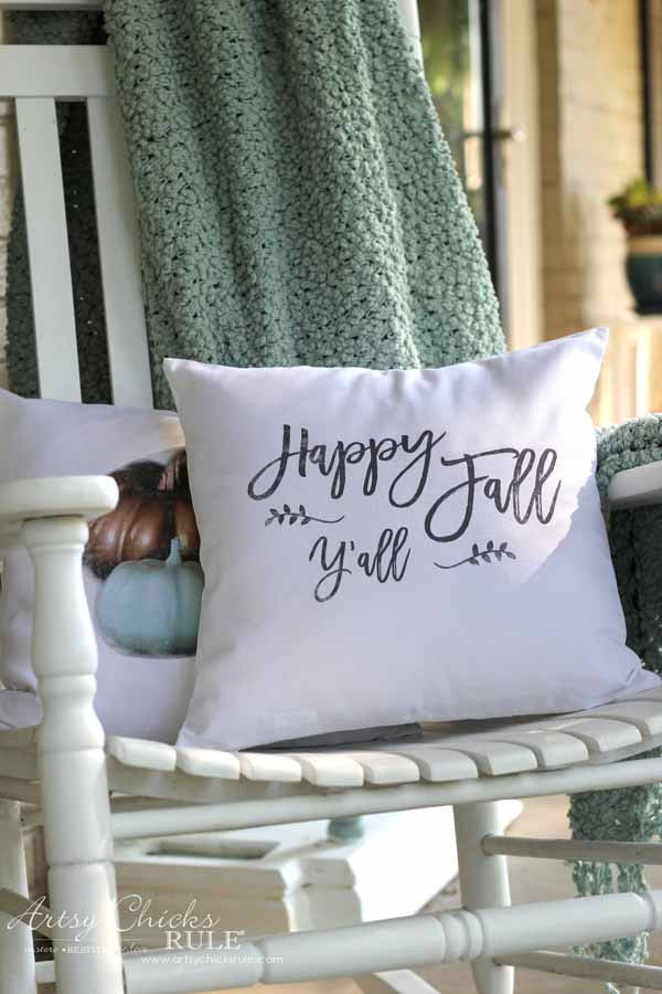 DIY Fall Pillows and Free Printables - Happy Fall Y'all - artsychicksrule #freeprintables #fallpillow #fallsayings