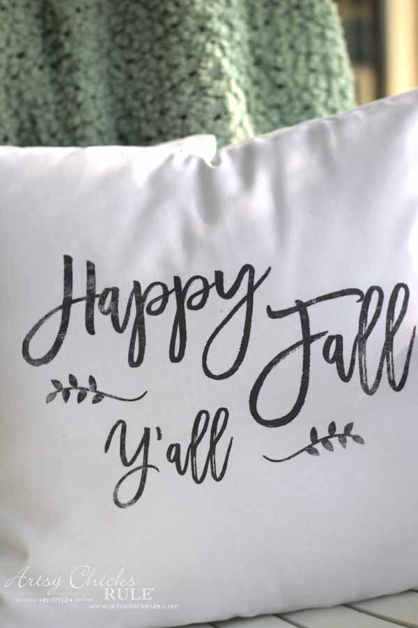 DIY Fall Pillows and Free Printables - Happy Fall Y'all close up - artsychicksrule #freeprintables #fallpillow #fallsayings