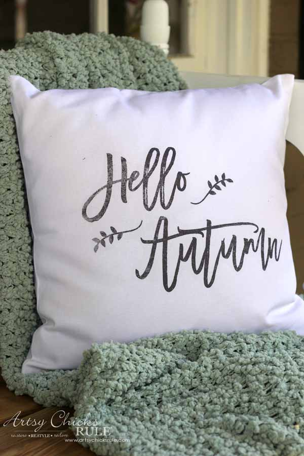 DIY Fall Pillows and Free Printables - Hello Autumn Close up - artsychicksrule.com #freeprintables #fallpillow #fallsayings #happyfallyall