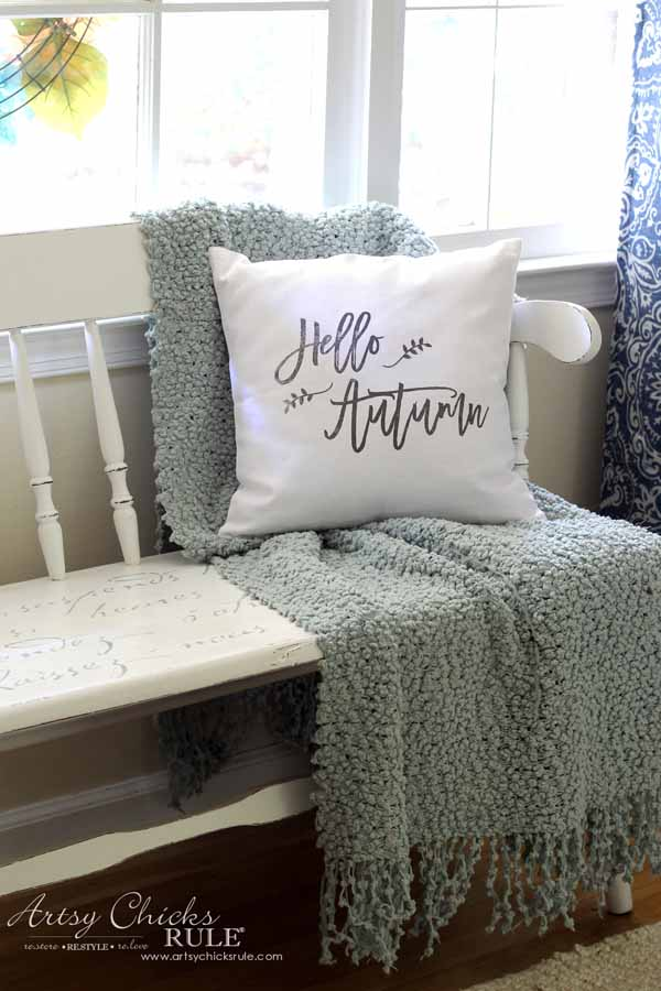 DIY Fall Pillows and Free Printables - Hello Autumn Pillow - aartsychicksrule.com #freeprintables #fallpillow #fallsayings #happyfallyall