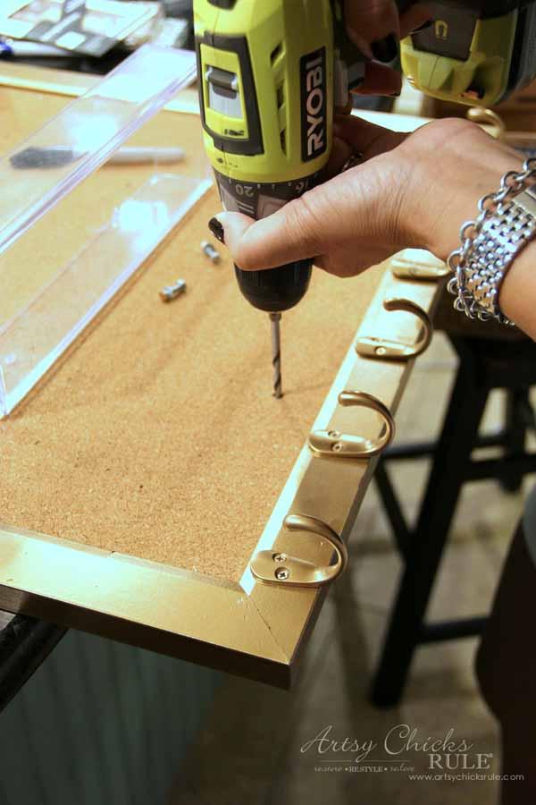 DIY Jewelry Organizer - drilling holes for cubby - artsychicksrule #jewelryorganizer #popularpins
