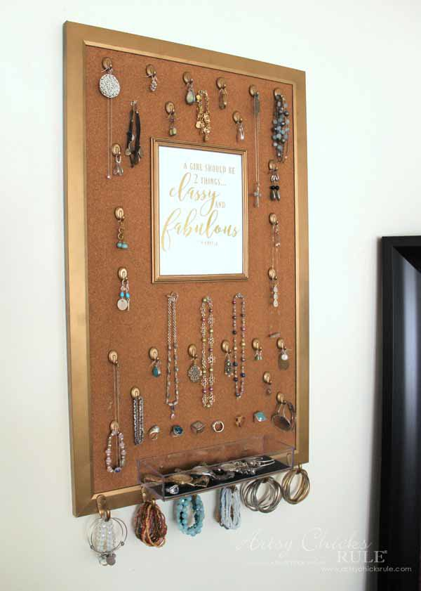 DIY Jewelry Organizer - you could replace with a mirror - artsychicksrule #jewelryorganizer #popularpins