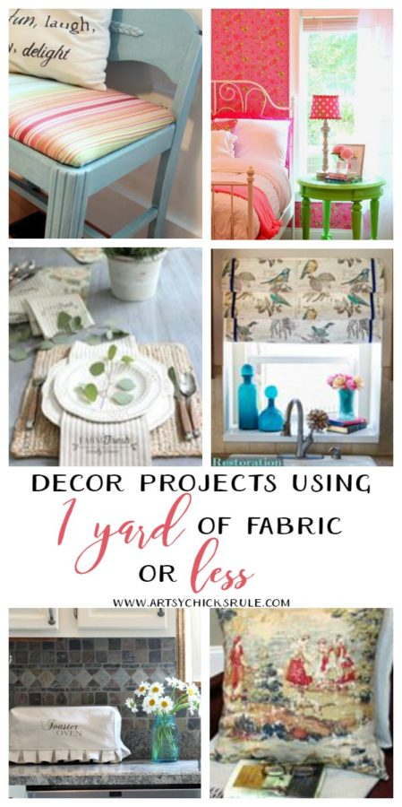 Decor Projects Using 1 Yard of Fabric Or Less - fabric inspired projects artsychicksrule #fabricprojects #popular pins